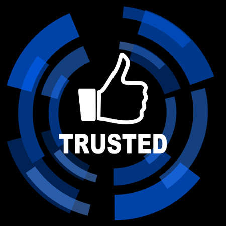 trusted: trusted black background simple web icon