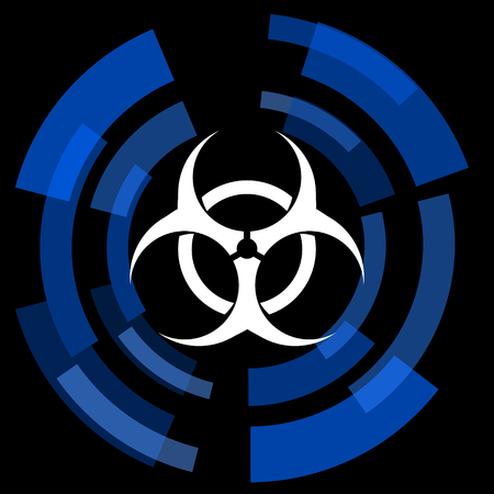 bacterioa: biohazard black background simple web icon Stock Photo