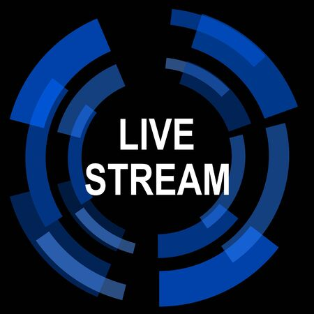 live stream: live stream black background simple web icon Stock Photo