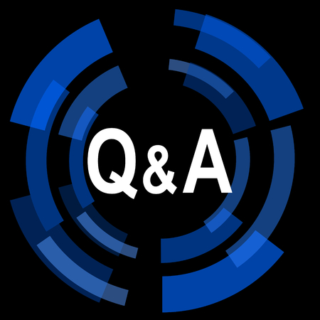 question and answer: question answer black background simple web icon Stock Photo
