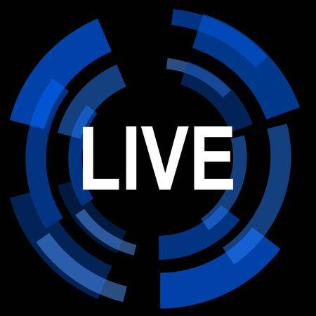 web cast: live black background simple web icon Stock Photo