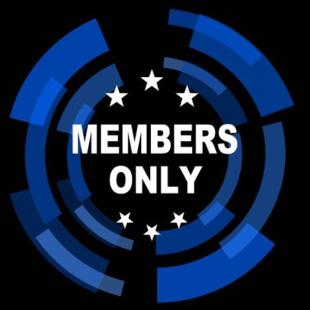 members only: members only black background simple web icon Stock Photo