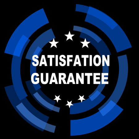 satisfaction guarantee: satisfaction guarantee black background simple web icon Stock Photo