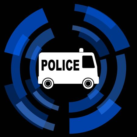 patrolman: police black background simple web icon Stock Photo