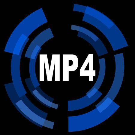 mp4: mp4 black background simple web icon Stock Photo