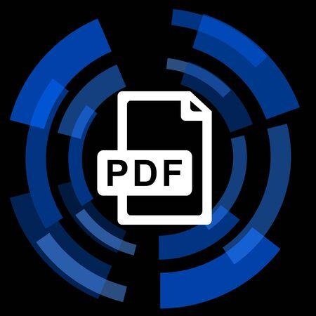 bibliography: pdf file black background simple web icon Stock Photo