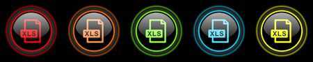 xls: xls file colored web icons set on black background