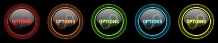 option key: options colored web icons set on black background
