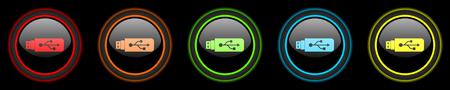 usb pendrive: usb colored web icons set on black background