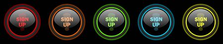 subscribing: sign up colored web icons set on black background