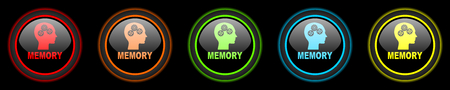 memory colored web icons set on black background