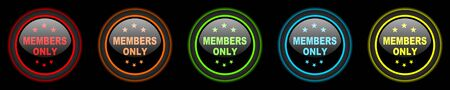 members only: members only colored web icons set on black background Stock Photo