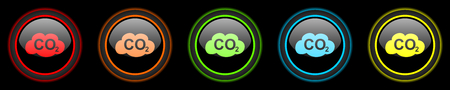 dioxido de carbono: el dióxido de carbono coloreado de iconos de web sobre fondo negro Foto de archivo