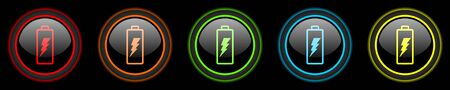 accuse: battery colored web icons set on black background Stock Photo
