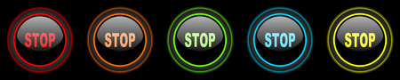 proscribed: stop colored web icons set on black background Stock Photo