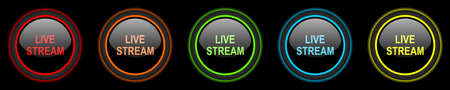 news cast: live stream colored web icons set on black background Stock Photo