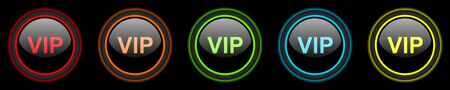black button: vip colored web icons set on black background