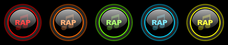 rap music: rap music colored web icons set on black background Stock Photo