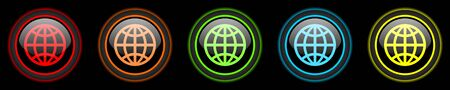 meridians: earth colored web icons set on black background