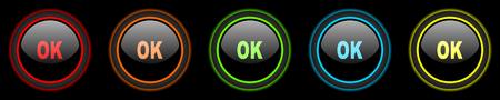 yea: ok colored web icons set on black background