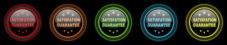 satisfaction guarantee: satisfaction guarantee colored web icons set on black background