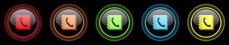 phonebook: phonebook colored web icons set on black background Stock Photo