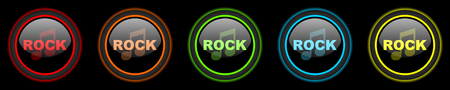 live stream radio: rock music colored web icons set on black background Stock Photo