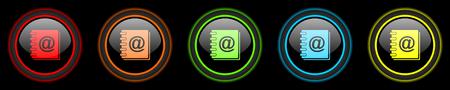address book: address book colored web icons set on black background