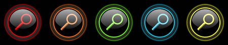 black button: search colored web icons set on black background Stock Photo