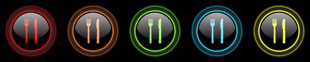 eat colored web icons set on black background Stock Photo