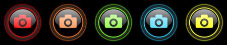 camera colored web icons set on black background