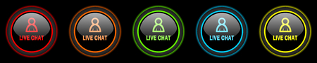 Chatter: live chat colored web icons set on black background