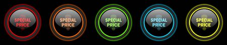special price: special price colored web icons set on black background