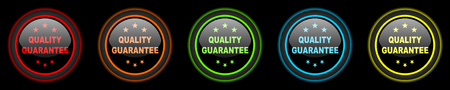 quality guarantee: quality guarantee colored web icons set on black background