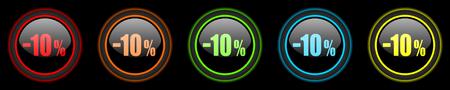 10 key: 10 percent sale retail colored web icons set on black background