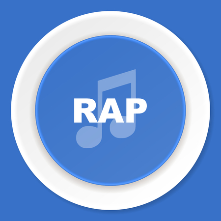 rap music: rap music blue flat design modern web icon Stock Photo