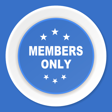 members only: members only blue flat design modern web icon