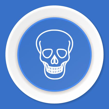 pirating: skull blue flat design modern web icon