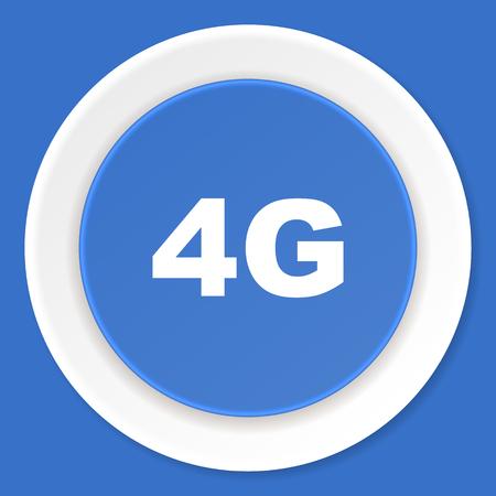 4g: 4g blue flat design modern web icon Stock Photo