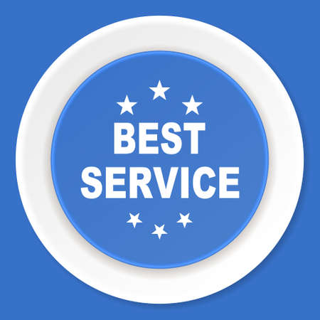 best service: best service blue flat design modern web icon