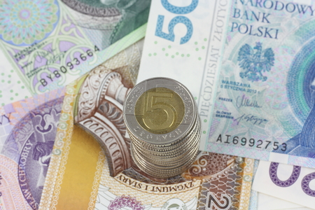zloty: polish currency zloty close up in studio Stock Photo