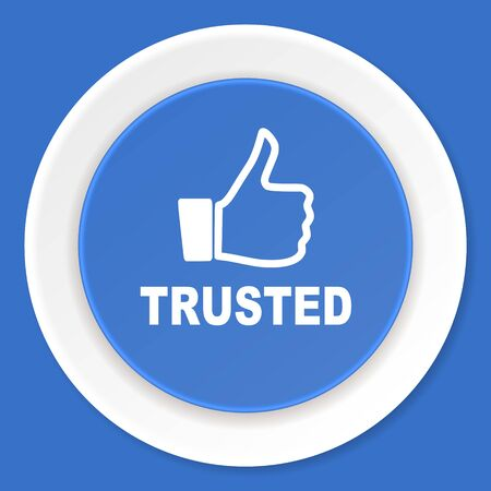 trusted: trusted blue flat design modern web icon Stock Photo
