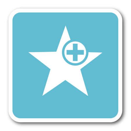 preference: star blue square internet flat design icon Stock Photo