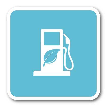 agro: biofuel blue square internet flat design icon