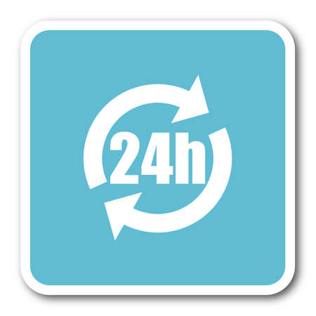 24h: 24h blue square internet flat design icon