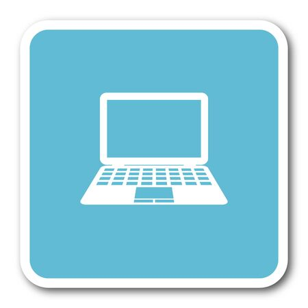 netbooks: computer blue square internet flat design icon