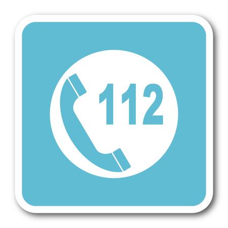 emergency call: emergency call blue square internet flat design icon