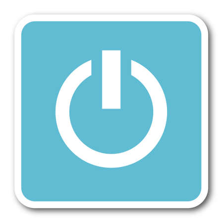 proceed: power blue square internet flat design icon Stock Photo