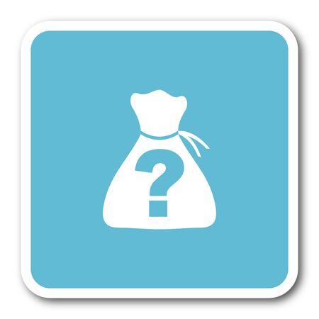 riddle: riddle blue square internet flat design icon Stock Photo