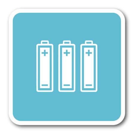accuse: battery blue square internet flat design icon Stock Photo